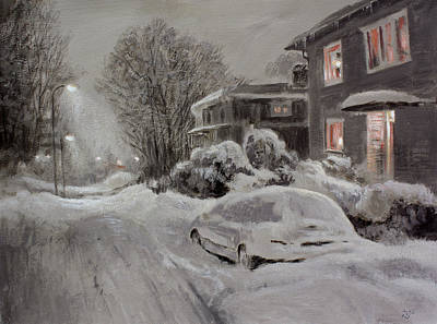 Painting - Neighbourhood In Winter by Hans Egil Saele
