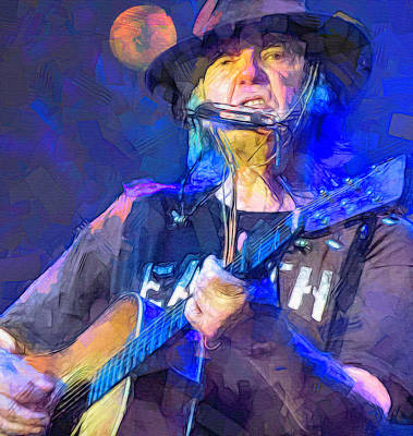 Neil Young Wall Art - Mixed Media - Neil Young, Harvest Moon by Mal Bray