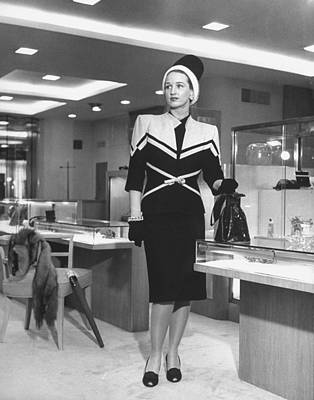 Photograph - Neiman Marcus Model Wearing Suit by Nina Leen