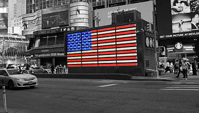 Queen Rights Managed Images - Neon American Flag 2 - Selective Color Royalty-Free Image by Allen Beatty