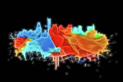 Digital Art - Neon Boston Skyline by Dan Sproul