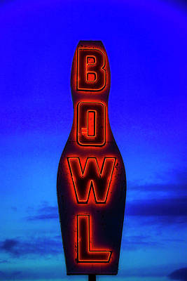 Photograph - Neon Bowling Sign by Garry Gay