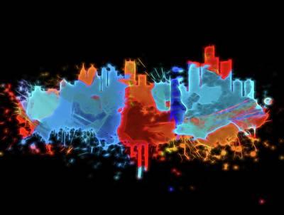 Digital Art - Neon Detroit Michigan Skyline by Dan Sproul
