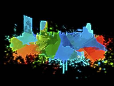 Digital Art - Neon Grand Rapids Skyline by Dan Sproul