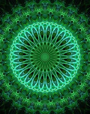 Digital Art - Neon Green Mandala by Jaroslaw Blaminsky