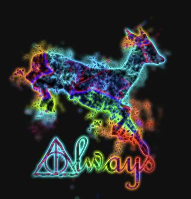 Digital Art - Neon Harry Potter Always by Dan Sproul