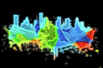 Digital Art - Neon Houston Skyline by Dan Sproul