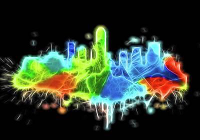 Digital Art - Neon Indianapolis Skyline by Dan Sproul