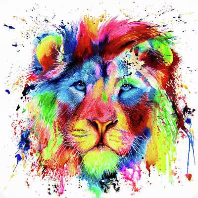 Painting - Neon Lion - Colourful Ink Spatter Painting by Peter Williams
