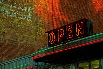 Open Photograph - Neon Open Sign On Old Diner Hotel by Matt Champlin