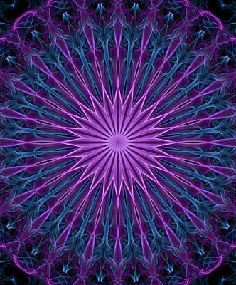 Digital Art - Neon Pink And Blue Mandala by Jaroslaw Blaminsky