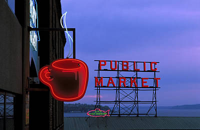 Photograph - Neon Sign For Caf And Market At Dusk by Michele Falzone