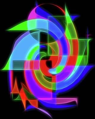 Digital Art - Neon Wormhole by Dan Sproul