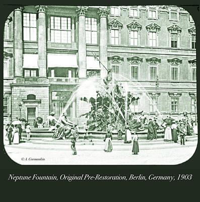 Photograph - Neptune Fountain, Original Pre-restoration, Berlin, Germany, 190 by A Gurmankin