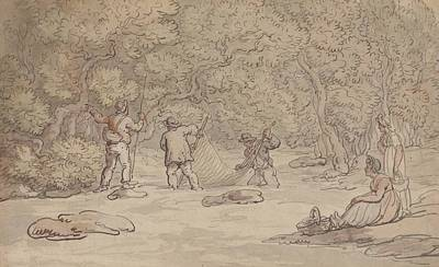Drawing - Netting A Salmon Pool by Thomas Rowlandson
