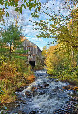Photograph - New England Fall Foliage And Sawmill At Moore State Park by Juergen Roth