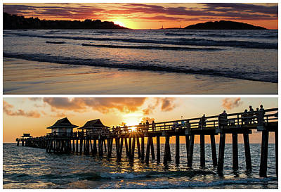 Photograph - New England Meets Florida Good Harbor Beach Naples Pier Golden Sun by Toby McGuire