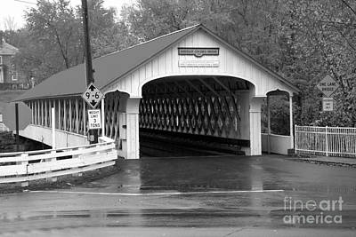 Photograph - New Hampshire Ashuelot Covered Bridge Black And White by Adam Jewell