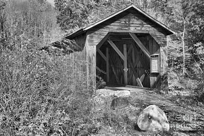 Photograph - New Hampshire Mcdermott Covered Bridge Black And White by Adam Jewell