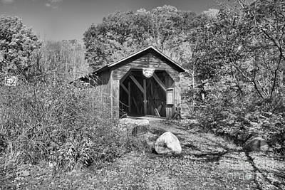 Photograph - New Hampshire Mcdermott Historic Covere Bridge Black And White by Adam Jewell