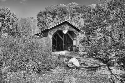 Photograph - New Hampshire Mcdermott Historic Covere Bridge Black And White by Adam Jewell