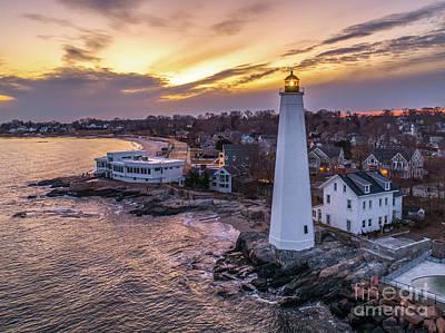 Photograph - New London CT Harbor Lighthouse by Petr Hejl Photoflight Aerial Media