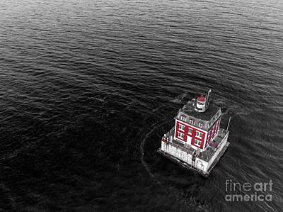 Photograph - New London CT Ledge Lighthouse by Petr Hejl Photoflight Aerial Media