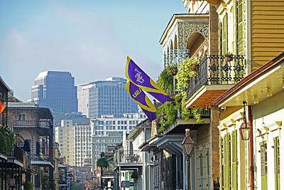 Photograph - New Orleans Balconies And Skyline Lsu Flags New Orleans Louisiana by Toby McGuire