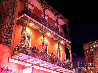Photograph - New Orleans Balcony Lights At Night On Bourbon Street by John Rizzuto