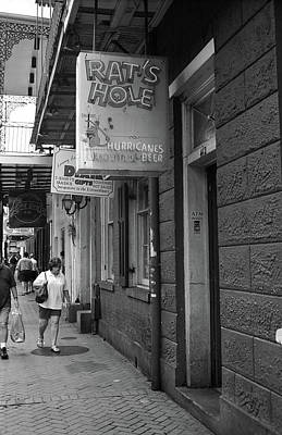 Photograph - New Orleans - Bourbon Street 2004 Bw #46 by Frank Romeo