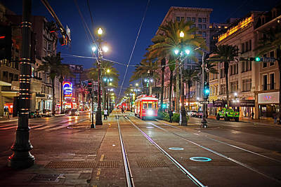 Photograph - New Orleans Canal Street At Night New Orleans La Louisiana by Toby McGuire