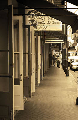 Photograph - New Orleans Doorways 2004 Sepia by Frank Romeo