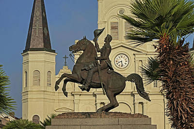 Photograph - New Orleans Jackson Square Andrew Jackson Statue Saint Louis Cathedral New Orleans Louisiana Close by Toby McGuire