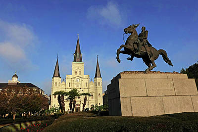 Photograph - New Orleans Jackson Square Andrew Jackson Statue Saint Louis Cathedral New Orleans Louisiana by Toby McGuire