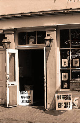 Photograph - New Orleans Jazz Club 2004 Sepia by Frank Romeo