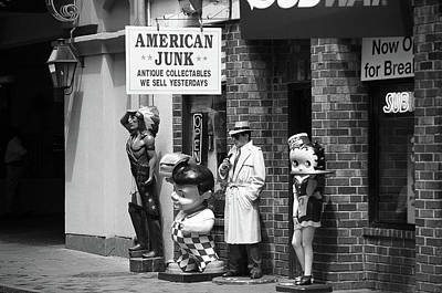 Photograph - New Orleans Junk Shop 2004 Bw by Frank Romeo