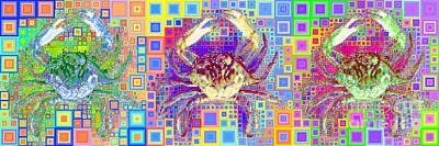 Photograph - New Orleans Louisiana Bayou Blue Crab In Abstract Squares 20190203 Long Horizontal by Wingsdomain Art and Photography