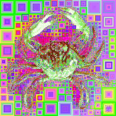 Photograph - New Orleans Louisiana Bayou Blue Crab In Abstract Squares 20190203 P55 by Wingsdomain Art and Photography
