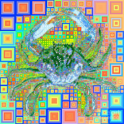 Photograph - New Orleans Louisiana Bayou Blue Crab In Abstract Squares 20190203 P168 by Wingsdomain Art and Photography