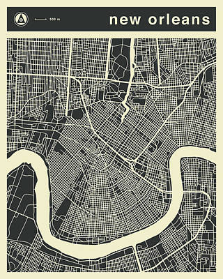 New Orleans Wall Art - Digital Art - New Orleans Map 3 by Jazzberry Blue