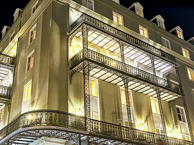 Photograph - New Orleans Night Lights On The Balcony by John Rizzuto