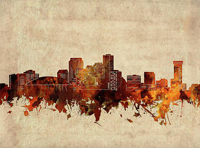 Abstract Skyline Royalty-Free and Rights-Managed Images - New Orleans Skyline Sepia by Bekim M
