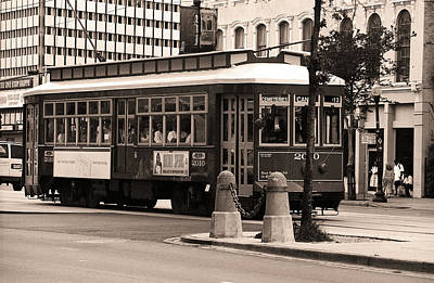 Photograph - New Orleans Trolley 2004 #2 Sepia by Frank Romeo