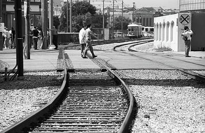 Photograph - New Orleans Trolley Tracks 2004 Bw by Frank Romeo