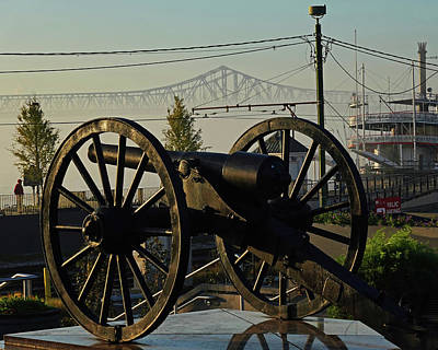 Photograph - New Orleans Washington Artillery Park Memorial Cannon Crescent City Connection Bridge by Toby McGuire