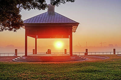 Photograph - New Orleans Waterfront Gazebo At Sunrise New Orleans Louisiana by Toby McGuire
