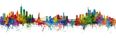 Digital Art - New York And Philadelphia Skylines Mashup by Michael Tompsett