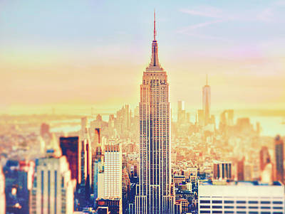 Skylines Royalty-Free and Rights-Managed Images - New York City Colorful Sunset by Vivienne Gucwa