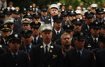 911 Memorial Photograph - New York City Fire Fighters Commemorate by Mario Tama