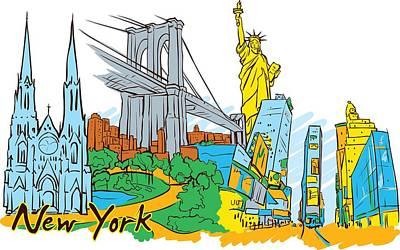 Digital Art - New York City In Vector by Stanley Mathis